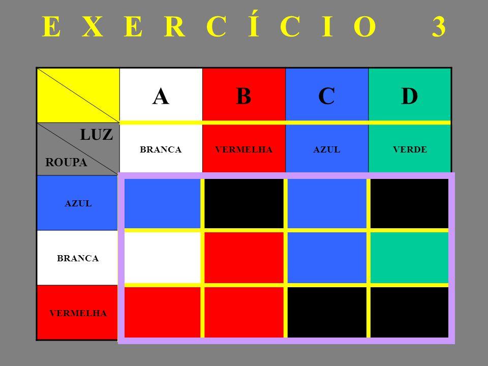EXERCÍCIO 3 A B C D BRANCA VERMELHA AZUL VERDE LUZ ROUPA
