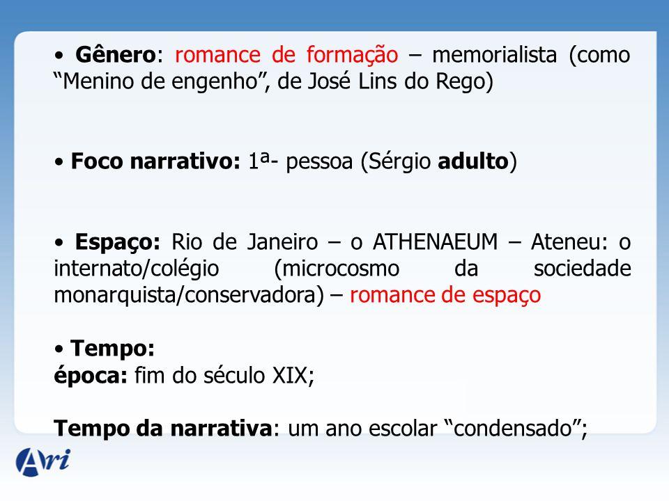 • Gênero: romance de formação – memorialista (como Menino de engenho , de José Lins do Rego)