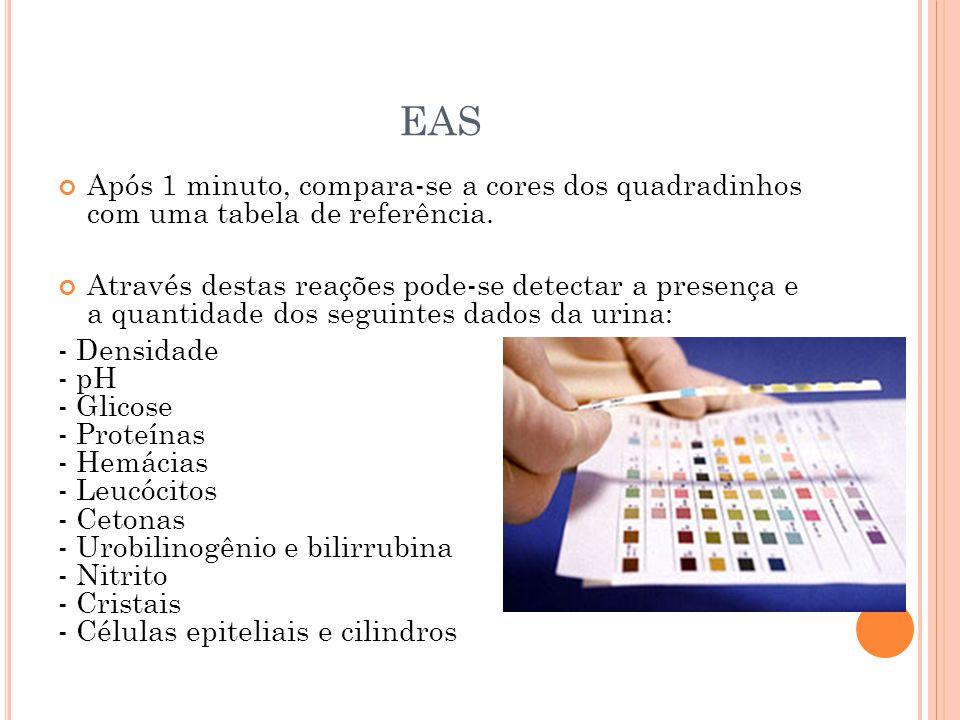 EAS Após 1 minuto, compara-se a cores dos quadradinhos com uma tabela de referência.