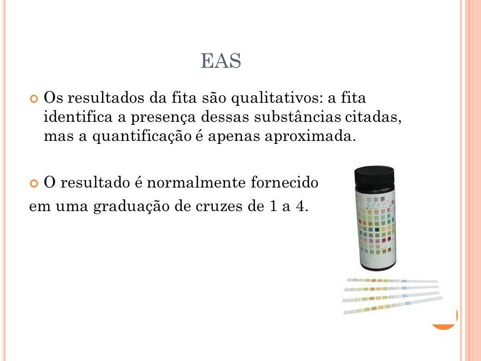 EAS Os resultados da fita são qualitativos: a fita identifica a presença dessas substâncias citadas, mas a quantificação é apenas aproximada.