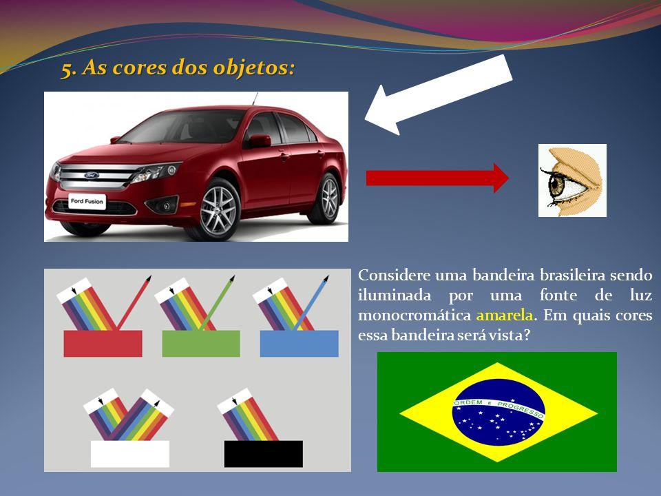 5. As cores dos objetos: