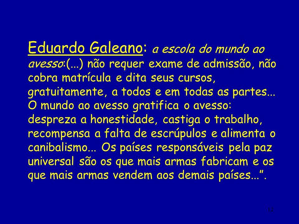 Eduardo Galeano: a escola do mundo ao avesso:(