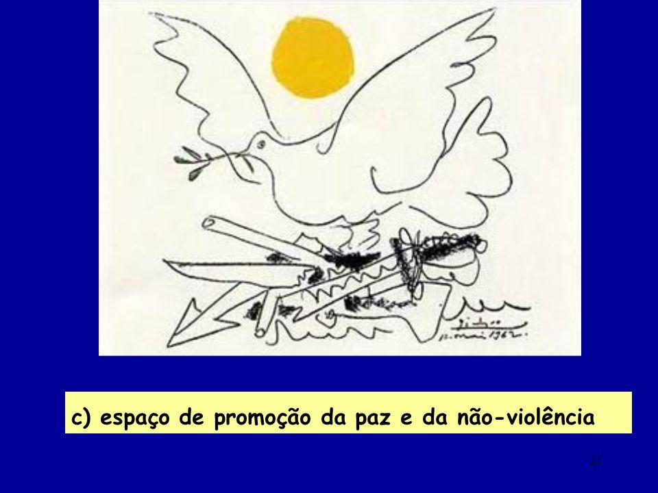 c) espaço de promoção da paz e da não-violência