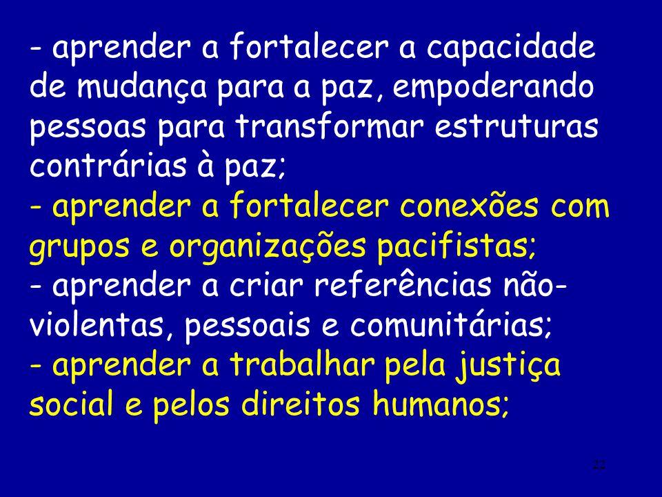 - aprender a fortalecer a capacidade de mudança para a paz, empoderando pessoas para transformar estruturas contrárias à paz;