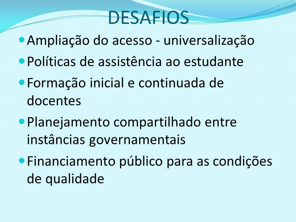 DESAFIOS Ampliação do acesso - universalização