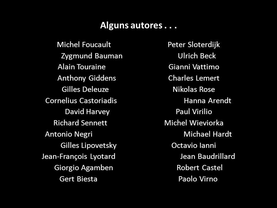 Alguns autores . . . Michel Foucault Peter Sloterdijk