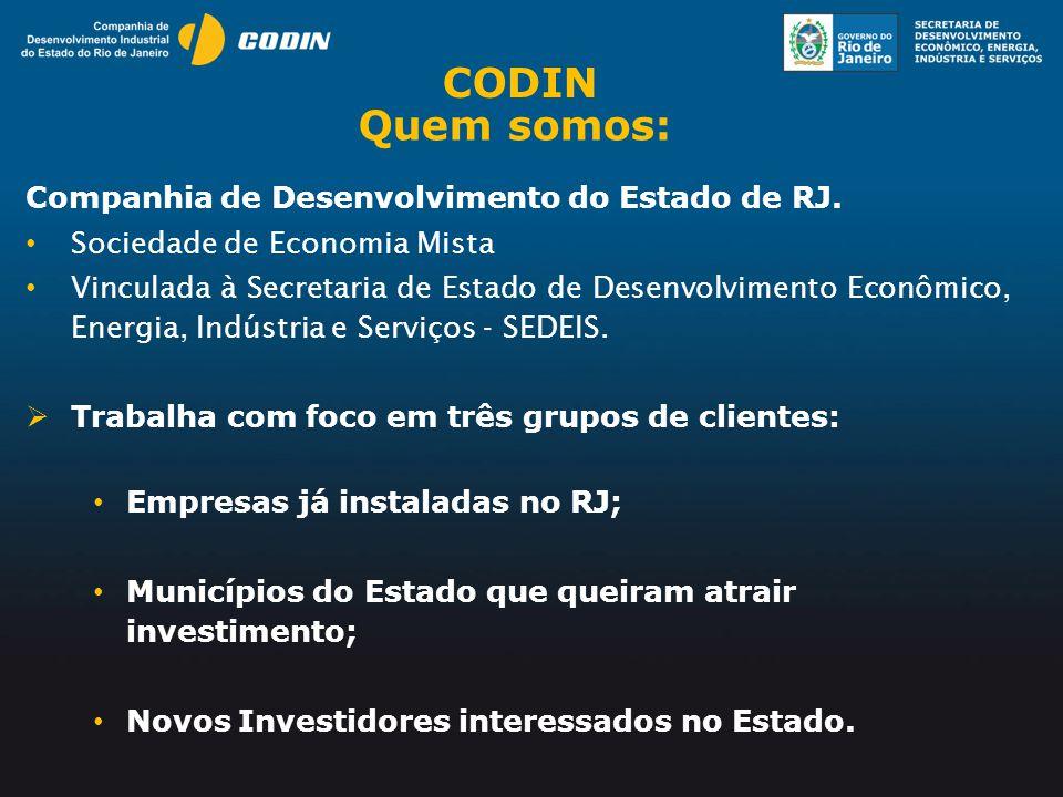 CODIN Quem somos: Companhia de Desenvolvimento do Estado de RJ.