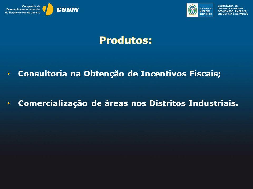 Produtos: Produtos: Consultoria na Obtenção de Incentivos Fiscais;