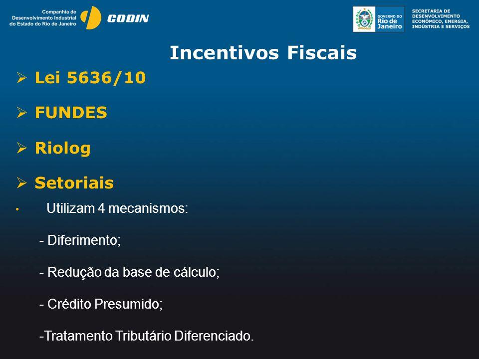 Incentivos Fiscais Lei 5636/10 FUNDES Riolog Setoriais Diferimento;