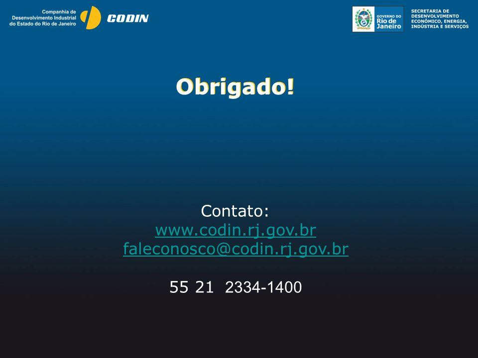Obrigado! Obrigado! Contato: www.codin.rj.gov.br