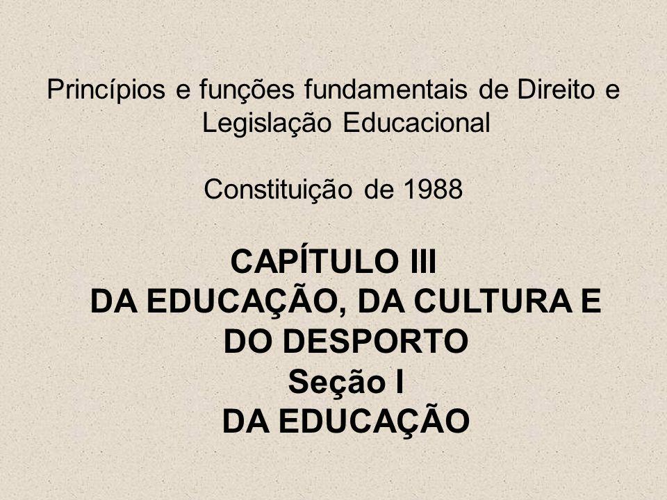 CAPÍTULO III DA EDUCAÇÃO, DA CULTURA E DO DESPORTO Seção I DA EDUCAÇÃO