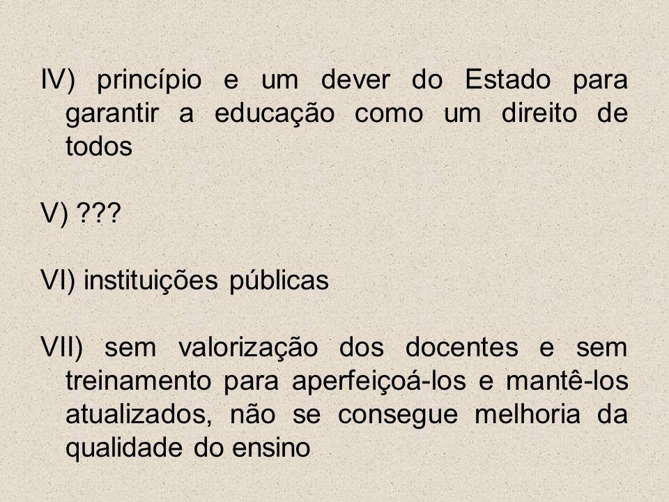 IV) princípio e um dever do Estado para garantir a educação como um direito de todos V) .