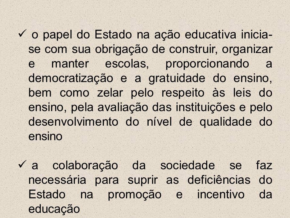 o papel do Estado na ação educativa inicia-se com sua obrigação de construir, organizar e manter escolas, proporcionando a democratização e a gratuidade do ensino, bem como zelar pelo respeito às leis do ensino, pela avaliação das instituições e pelo desenvolvimento do nível de qualidade do ensino