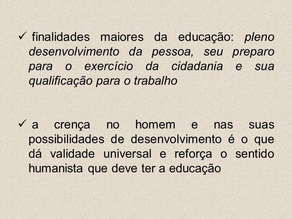 finalidades maiores da educação: pleno desenvolvimento da pessoa, seu preparo para o exercício da cidadania e sua qualificação para o trabalho