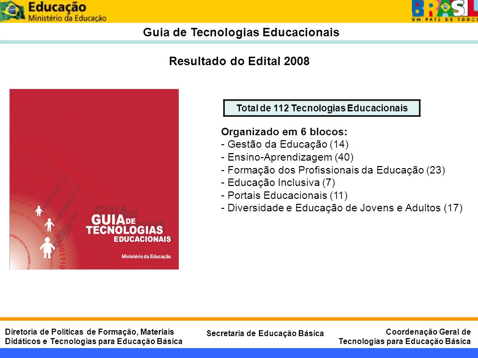 Guia de Tecnologias Educacionais Total de 112 Tecnologias Educacionais