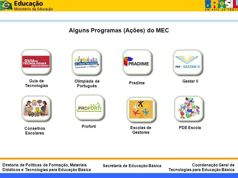 Alguns Programas (Ações) do MEC Olimpíada de Português