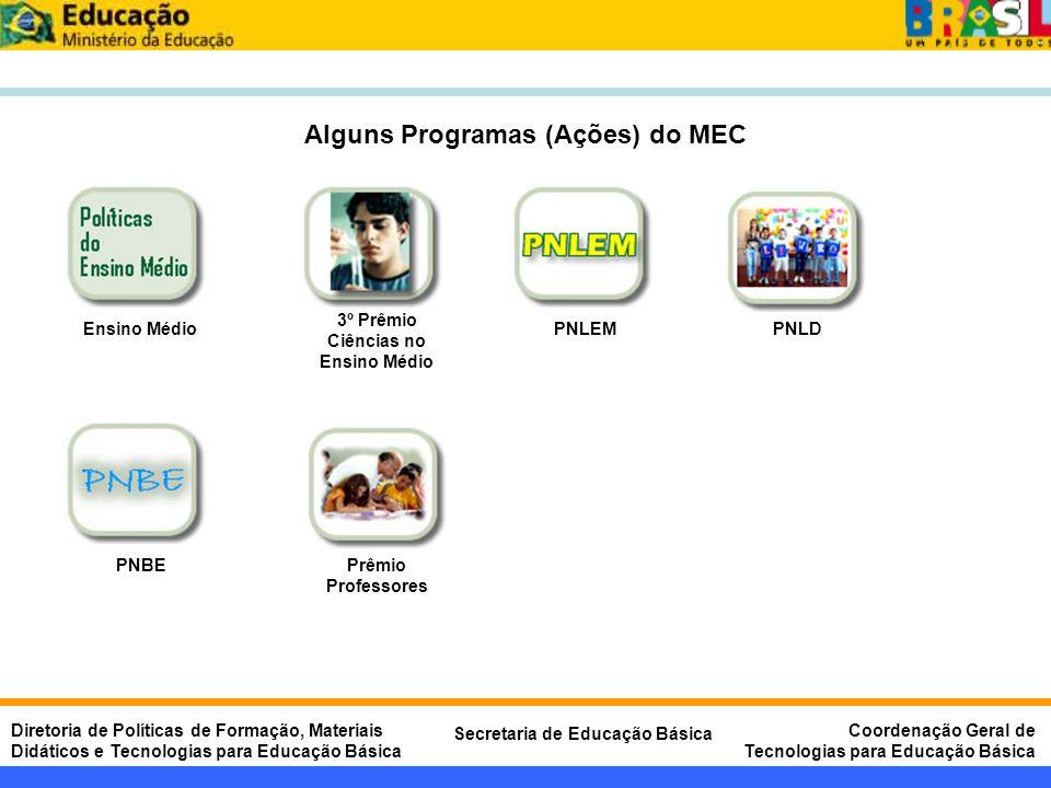 Alguns Programas (Ações) do MEC 3º Prêmio Ciências no Ensino Médio