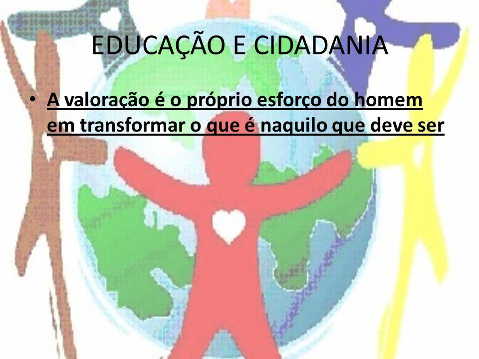 EDUCAÇÃO E CIDADANIA A valoração é o próprio esforço do homem em transformar o que é naquilo que deve ser.