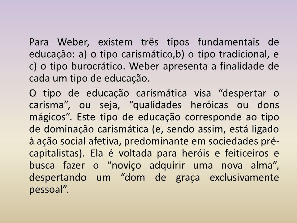 Para Weber, existem três tipos fundamentais de educação: a) o tipo carismático,b) o tipo tradicional, e c) o tipo burocrático.