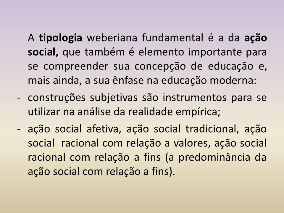 A tipologia weberiana fundamental é a da ação social, que também é elemento importante para se compreender sua concepção de educação e, mais ainda, a sua ênfase na educação moderna: