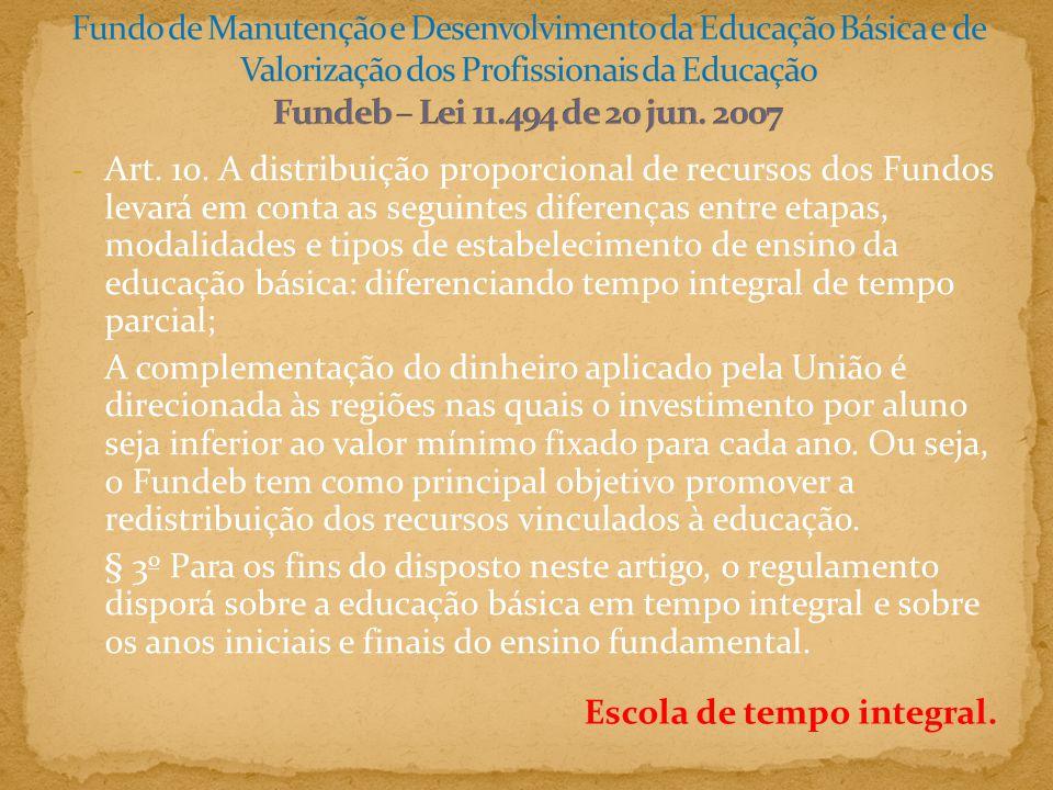 Fundo de Manutenção e Desenvolvimento da Educação Básica e de Valorização dos Profissionais da Educação Fundeb – Lei 11.494 de 20 jun. 2007