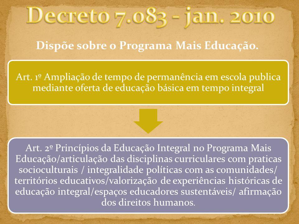 Dispõe sobre o Programa Mais Educação.