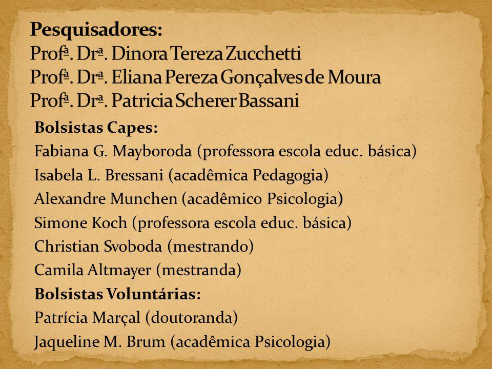 Pesquisadores: Profª. Drª. Dinora Tereza Zucchetti Profª. Drª