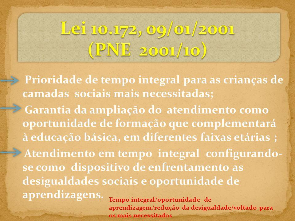 Lei 10.172, 09/01/2001 (PNE 2001/10) Prioridade de tempo integral para as crianças de camadas sociais mais necessitadas;
