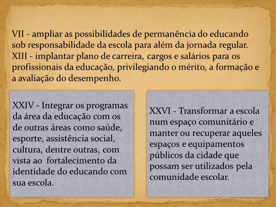 VII - ampliar as possibilidades de permanência do educando sob responsabilidade da escola para além da jornada regular.