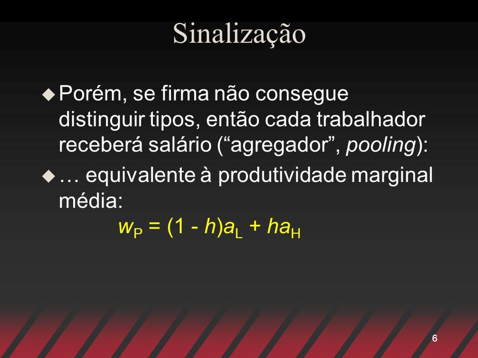 Sinalização Porém, se firma não consegue distinguir tipos, então cada trabalhador receberá salário ( agregador , pooling):