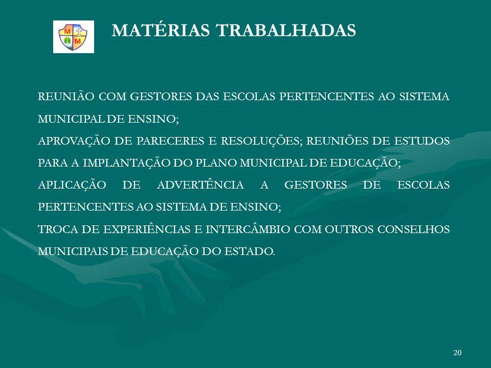 MATÉRIAS TRABALHADAS REUNIÃO COM GESTORES DAS ESCOLAS PERTENCENTES AO SISTEMA MUNICIPAL DE ENSINO;