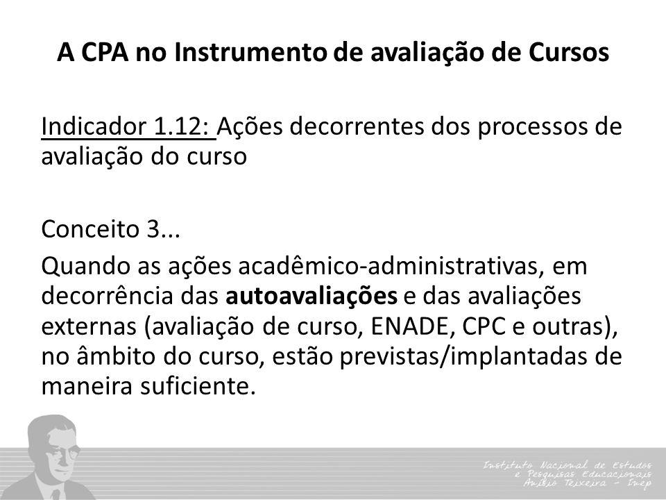 A CPA no Instrumento de avaliação de Cursos