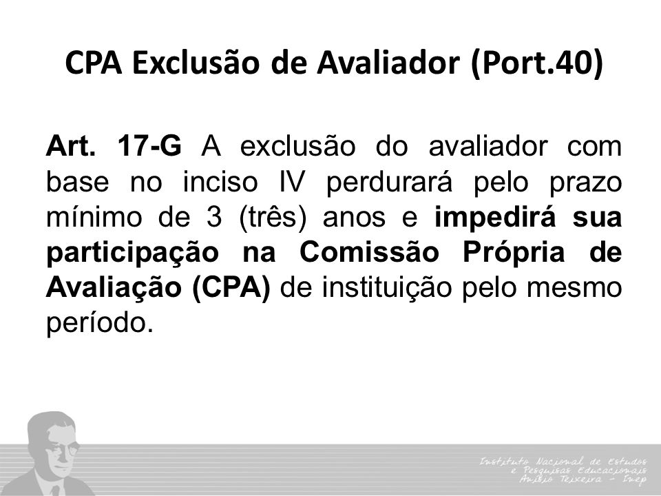 CPA Exclusão de Avaliador (Port.40)