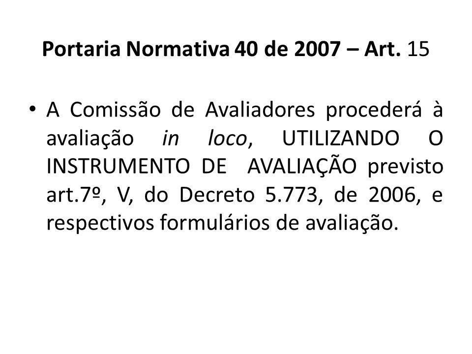 Portaria Normativa 40 de 2007 – Art. 15