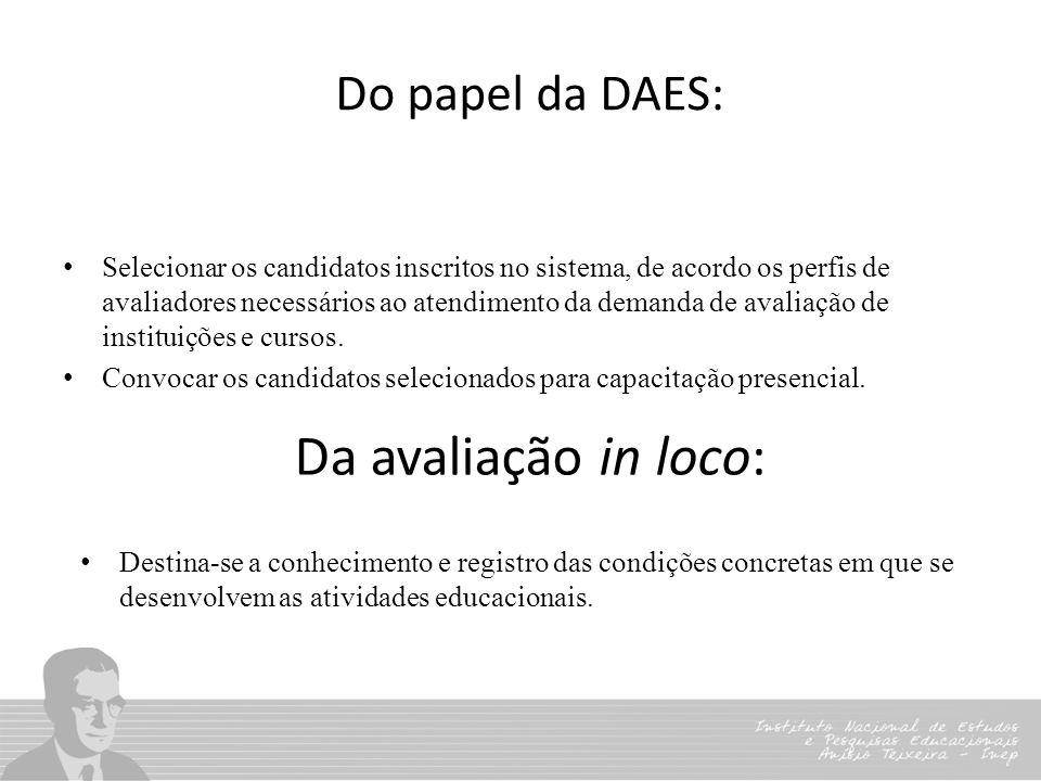 Da avaliação in loco: Do papel da DAES: