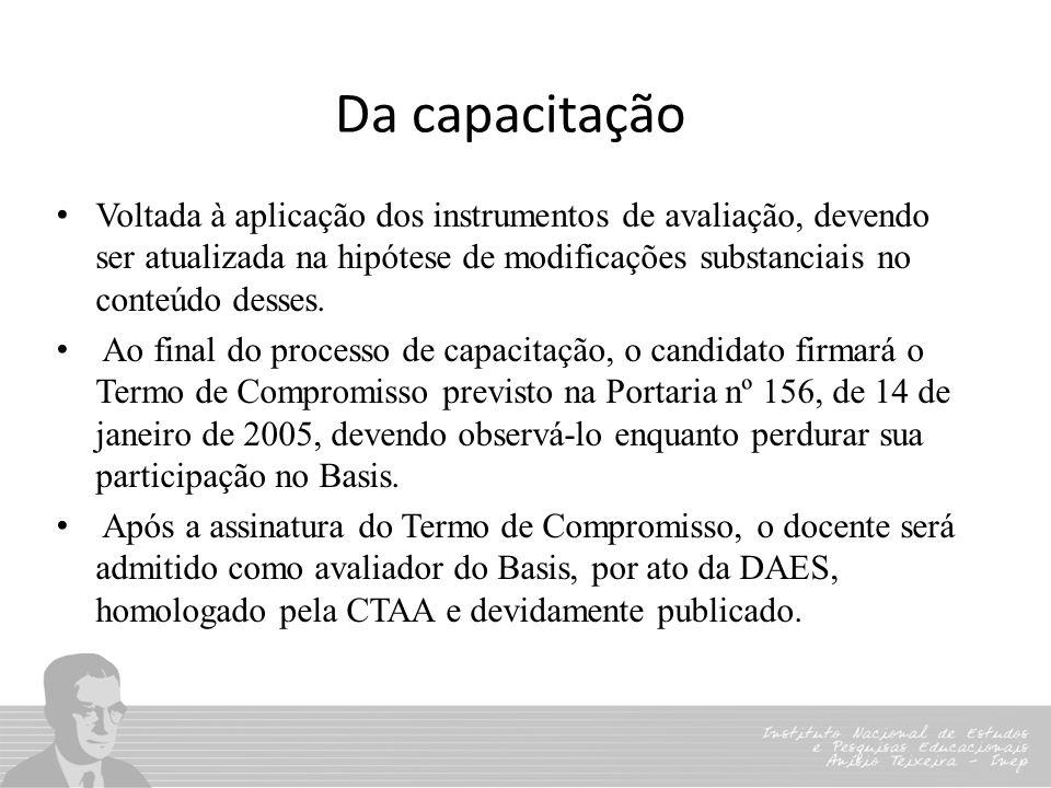 Da capacitação Voltada à aplicação dos instrumentos de avaliação, devendo ser atualizada na hipótese de modificações substanciais no conteúdo desses.
