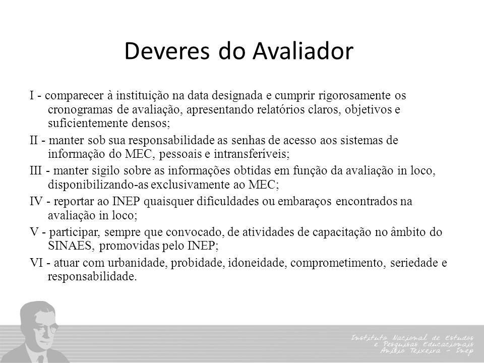 Deveres do Avaliador