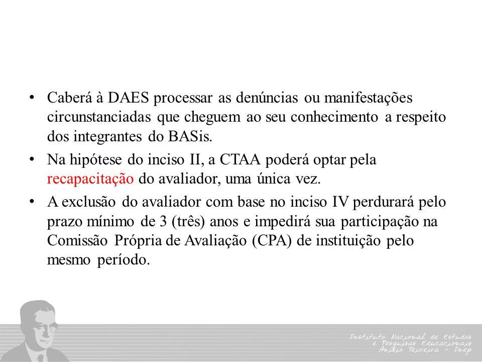 Caberá à DAES processar as denúncias ou manifestações circunstanciadas que cheguem ao seu conhecimento a respeito dos integrantes do BASis.