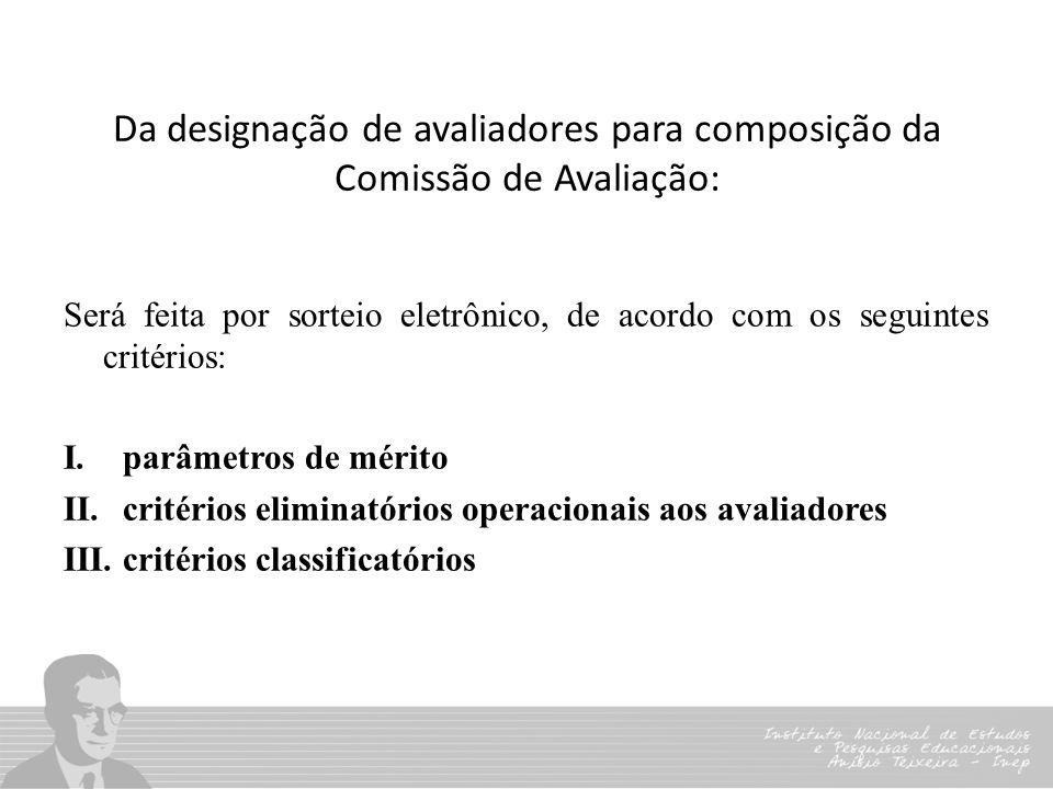 Da designação de avaliadores para composição da Comissão de Avaliação: