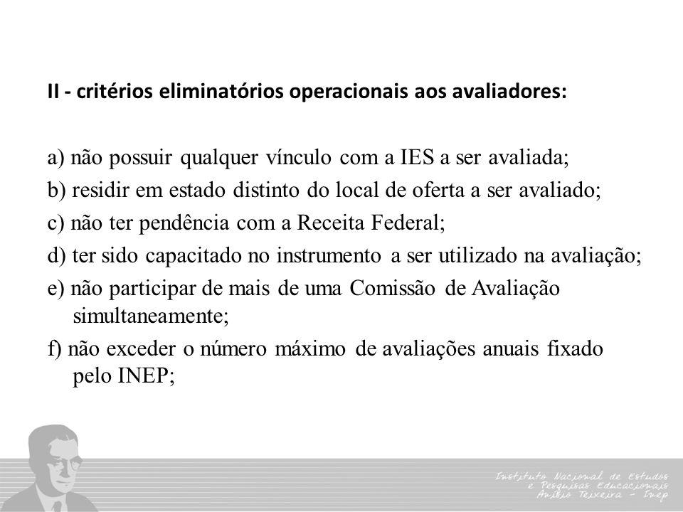 II - critérios eliminatórios operacionais aos avaliadores: