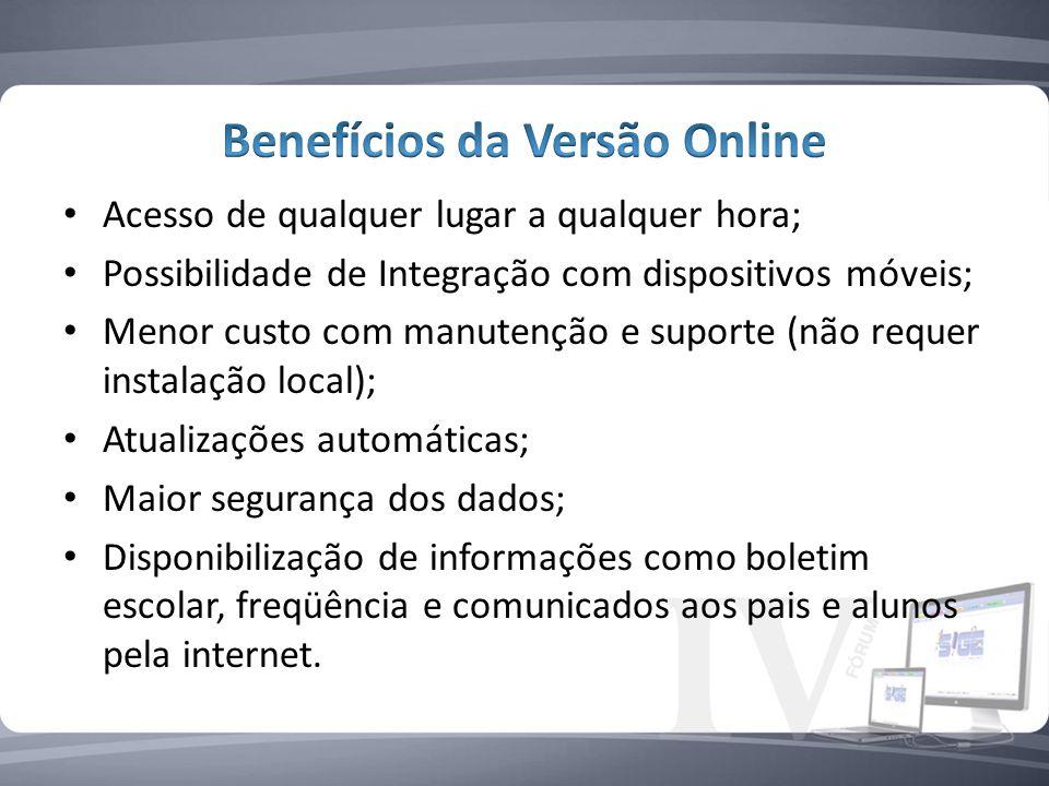 Benefícios da Versão Online