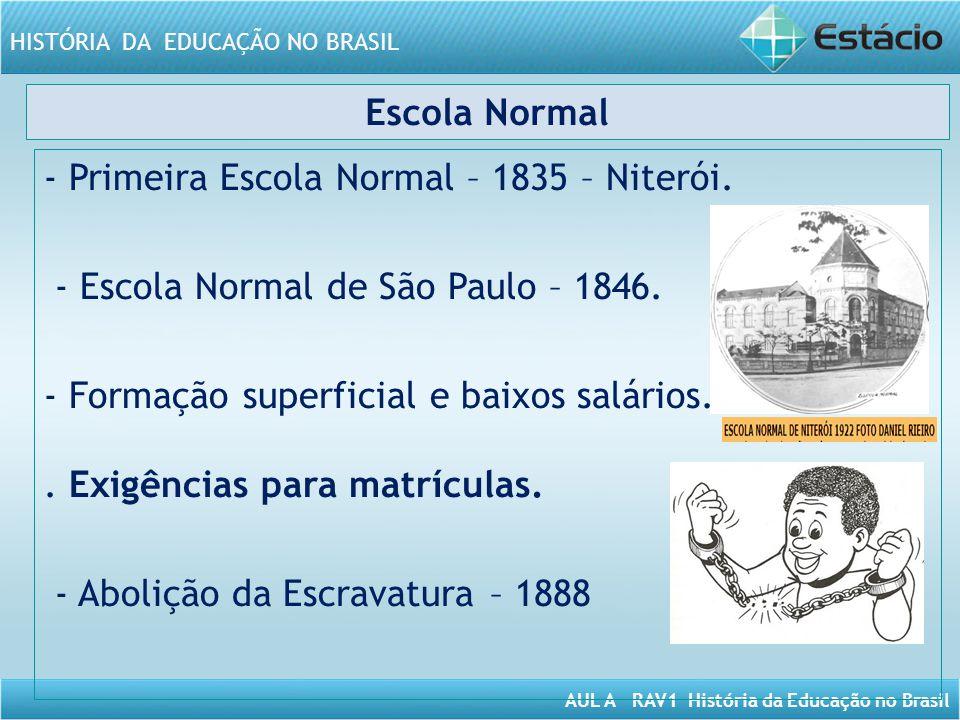 - Primeira Escola Normal – 1835 – Niterói.