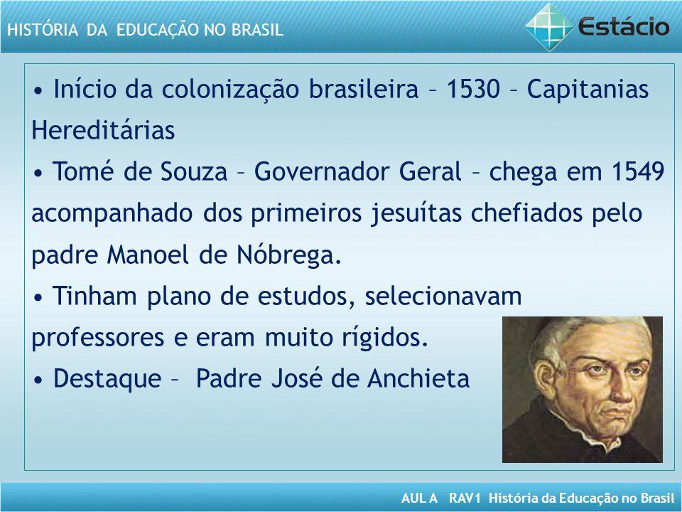 • Início da colonização brasileira – 1530 – Capitanias Hereditárias