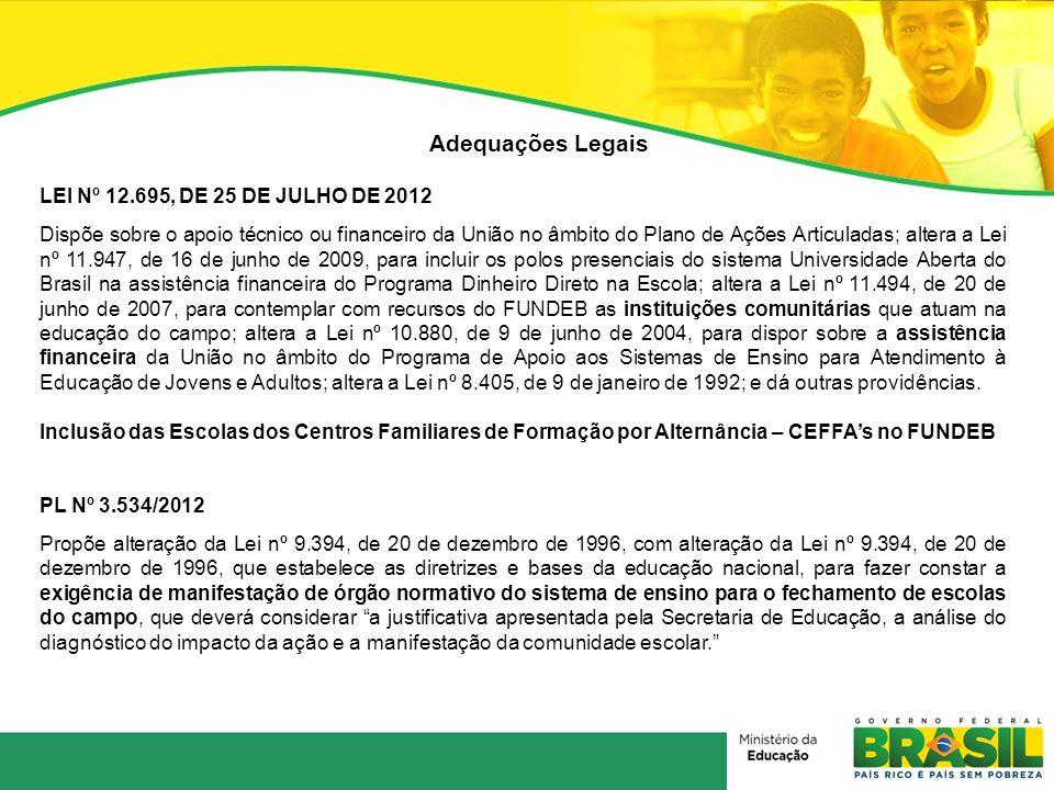 Adequações Legais LEI Nº 12.695, DE 25 DE JULHO DE 2012