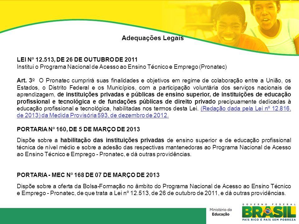 Adequações Legais LEI Nº 12.513, DE 26 DE OUTUBRO DE 2011