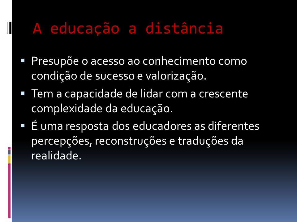 A educação a distância Presupõe o acesso ao conhecimento como condição de sucesso e valorização.
