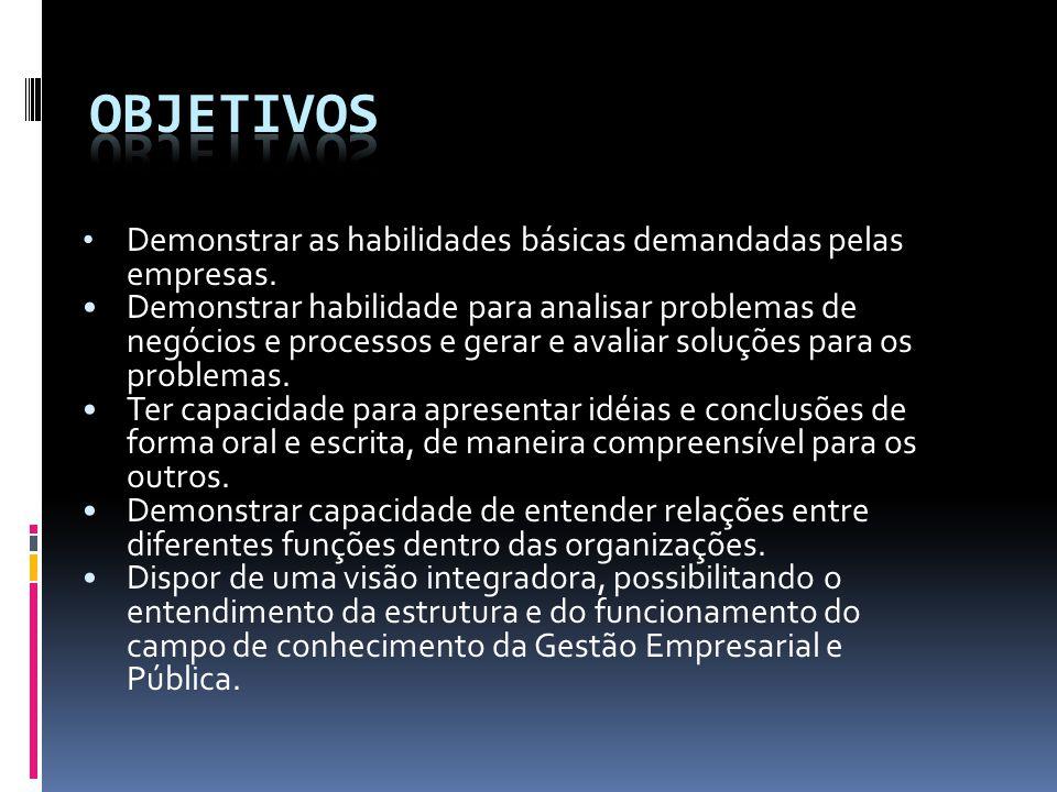 Objetivos Demonstrar as habilidades básicas demandadas pelas empresas.