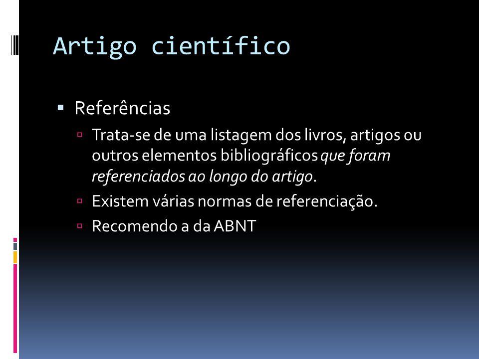 Artigo científico Referências