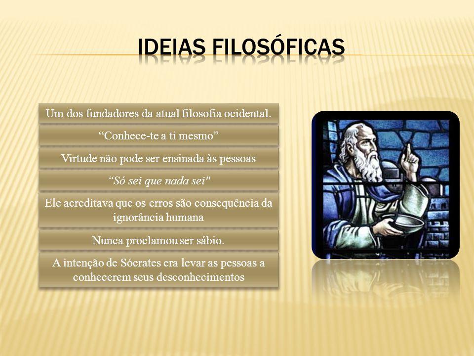 Ideias filosóficas Um dos fundadores da atual filosofia ocidental.
