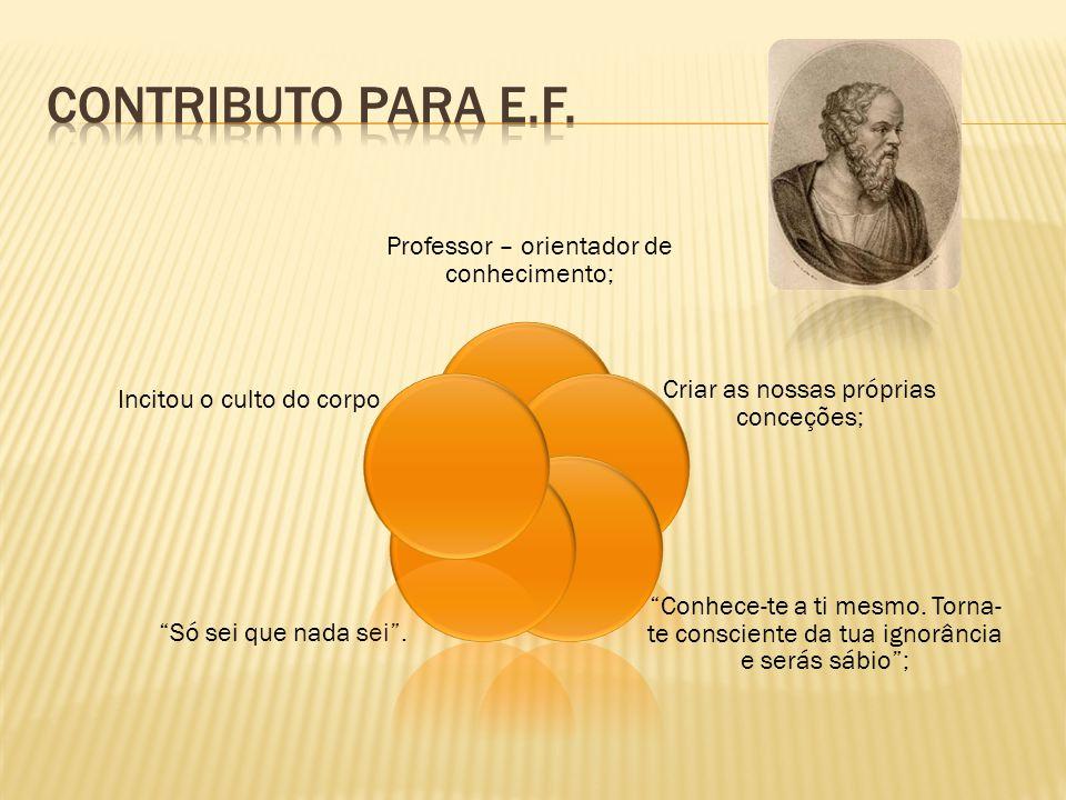 Contributo para E.F. Professor – orientador de conhecimento;